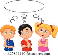 Cartoon kids thinking with white bu