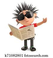Current affairs minded punk rocker reading a newspaper, 3d illustration
