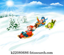 Kids with sledges, snow, winter fun