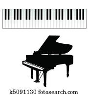 klavierschlüssel, vektor, abbildung