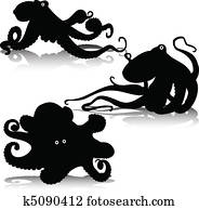 octopus vector silhouettes