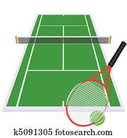 play tennis on green court