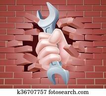 schraubenschlüssel, hand, brechen, wand