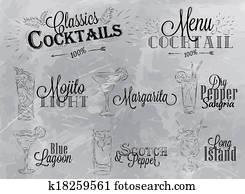Set of cocktail menu coal