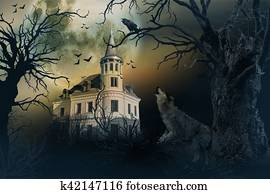 Haunted Castle with Crows and Horror Scene.