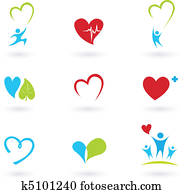 Health and Medical icons on white