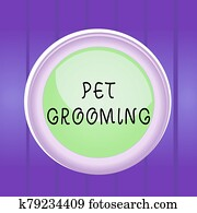 Writing note showing Pet Grooming. Business photo showcasing hygienic care and enhancing the appearance of the pets Colored sphere switch center background middle round shaped.