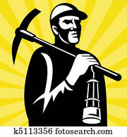 Coal miner with pickax and lamp