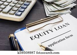 Equity loan form on an office table.