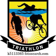 triathlon athlete run swim bike
