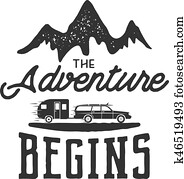 Vintage adventure Hand drawn label design. The Adventure Begins sign and outdoor activity symbols - mountains, rv trailer. Monochrome. Isolated on white background. Vector letterpress effect