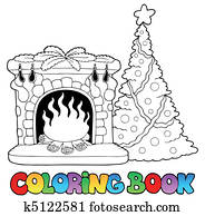 Coloring book with fireplace