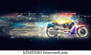 Cosmic colorful bike