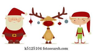 retro Santa claus, Elf, Rudolph