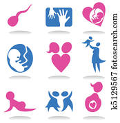 Set of icons on a theme pregnancy. A vector illustration