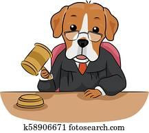 Dog Pet Legal Judge Illustration