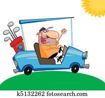 Golfer Man Driving A Cart