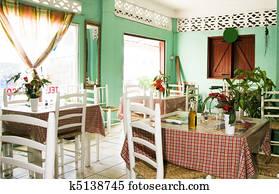 interior typical restaurant Caribbean St. Lucia