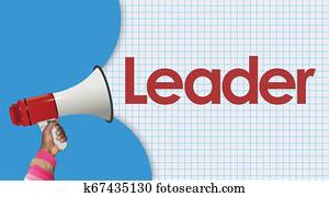 leader word and megaphone