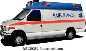 modernes, krankenwagen, kleintransport, hinüber, white., c