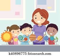 Stickman Kids Student Study Planets