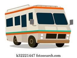 Vintage RV camper cartoon for vacat