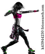 woman zumba fitness exercises dancer dancing isolated silhouette