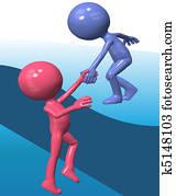Blue helper person lift 3D friend climb up
