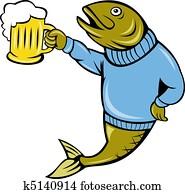 cartoon Trout fish beer mug