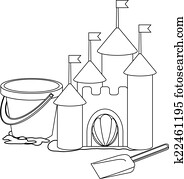 Coloring book: Cartoon sand castle