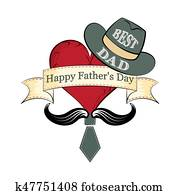 Fathers day, postcard in retro style