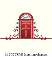 Red door with vine