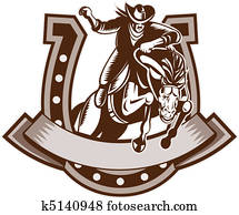 Rodeo Cowboy riding horse horseshoe