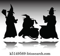 three witch vector silhouettes