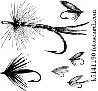 Vector Fishing Fly Set