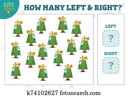 wie, viele, links, und, recht, karikatur, roboter, kinder, z?hlen, spiel, vektor, abbildung