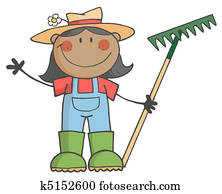 Black Farmer Girl Holding A Rake