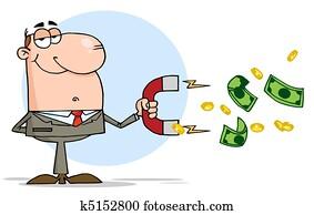 Businessman Using A Magnet