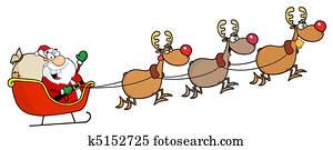 Christmas Santa Sleigh And Reindeer