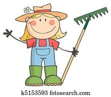 Gardening Girl Waving A Greeting
