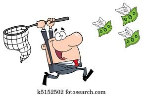 Happy Businessman Chasing Money