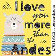 I love you more than the Andes. Scandinavian style poster