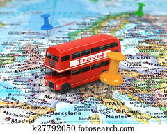 Image of travel concept. bus on wor