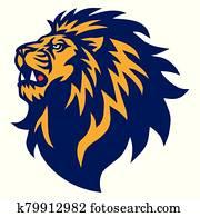 Lion Head Roaring Logo Esport Mascot Design