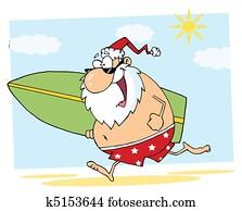 Santa Running On A Beach