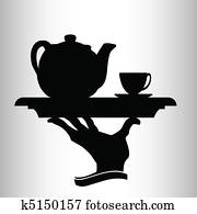 waiter brings tea vector silhouette