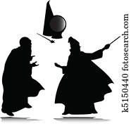 wizard vector silhouettes