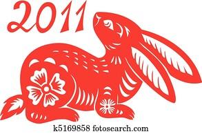 chinesischer, tierkreis, von, kanninchen, year.