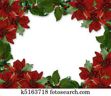 Christmas Holly Poinsettia border