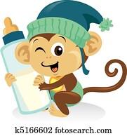 Cute baby monkey holding a large milk bottle.